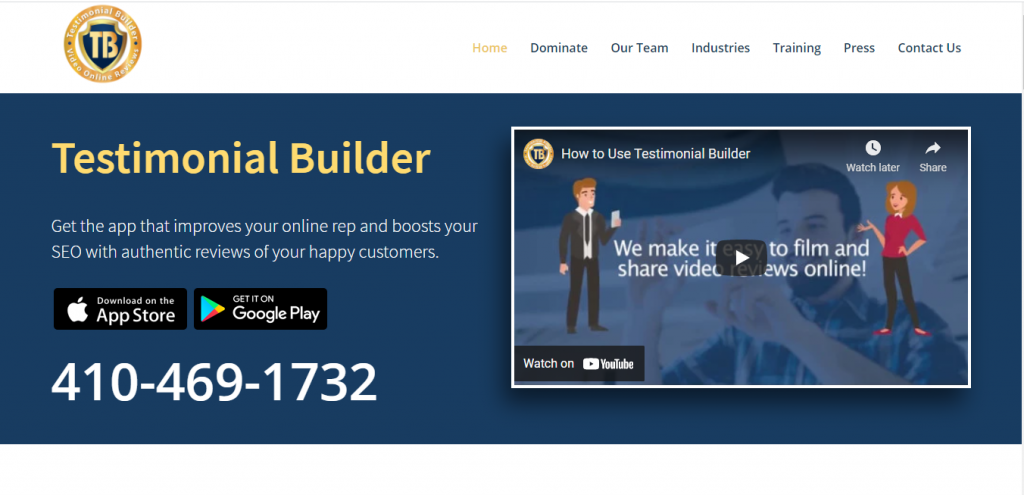Testimonial Builder Testimonial videos made easy! Record video reviews to boost reputation with