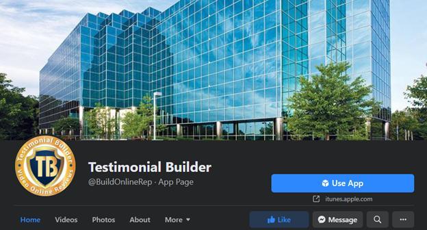 Testimonial Builder Facebook Page