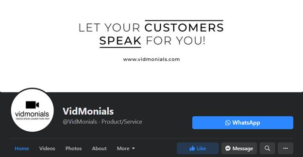 VidMonials Facebook page - Video Review Marketers