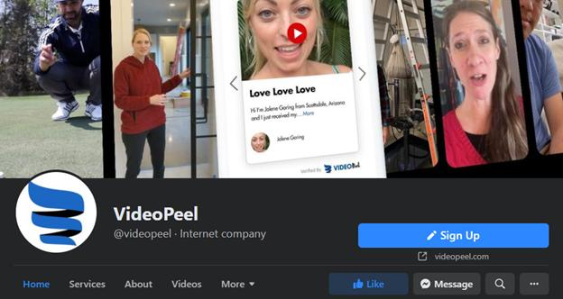 VideoPeel facebook page - Video Review Marketers