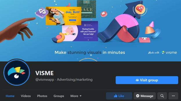 Visme Facebook Page - Video Review Marketers