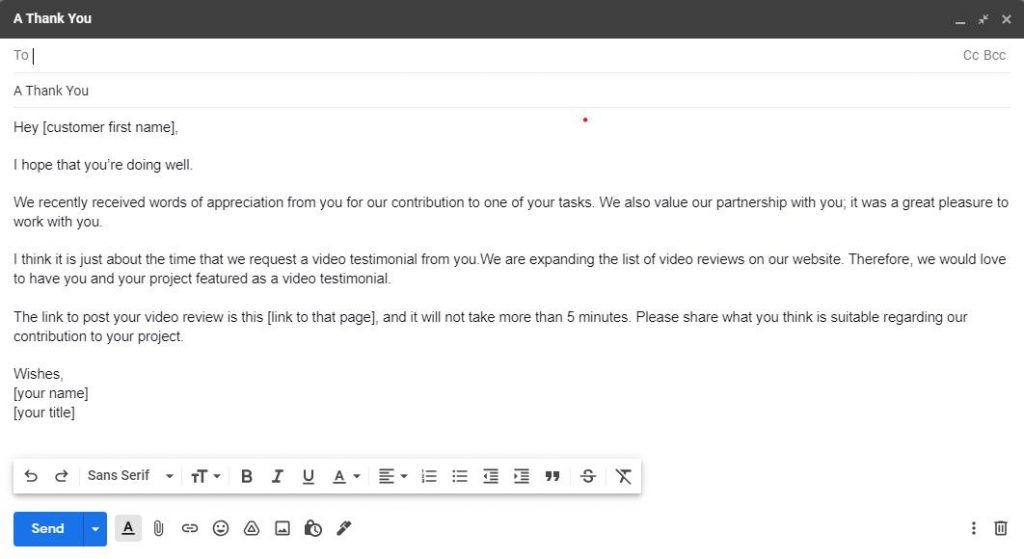 An informal approach to request a video testimonial