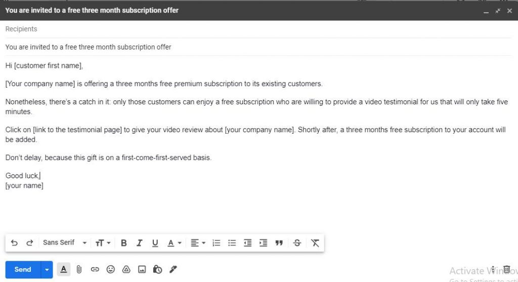 Incentive-based approach to request a video testimonial