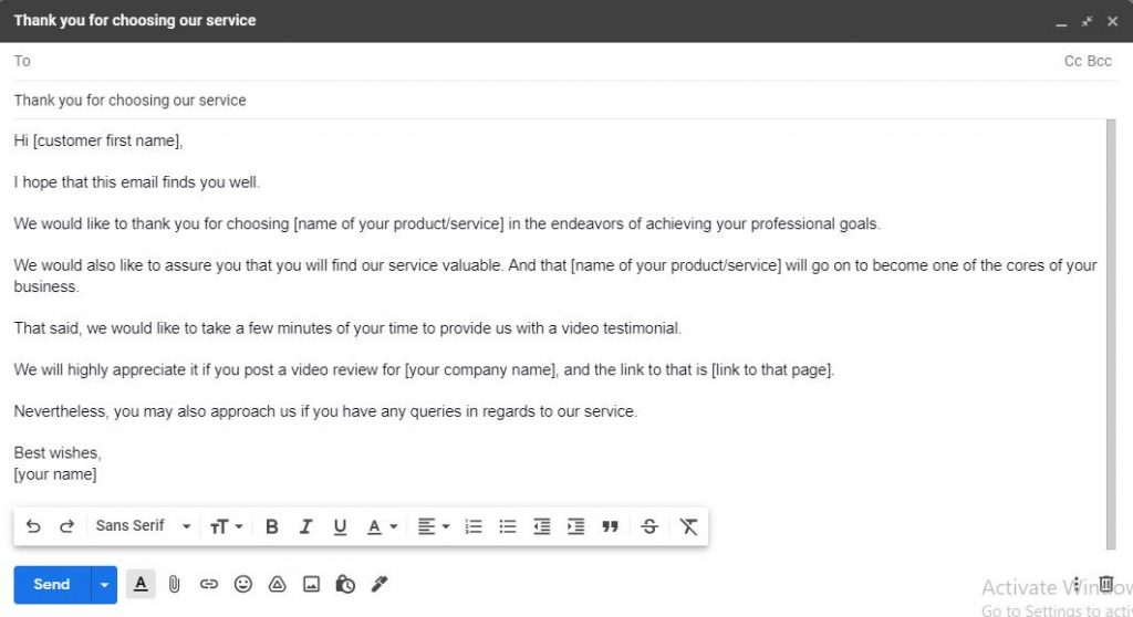 Post-sale approach to request a video testimonial